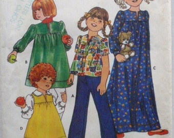 Butterick 6232 - Little Girl's Yoked Dress or Top and Pants Sewing Pattern - Size 4, Breast 23 - Uncut