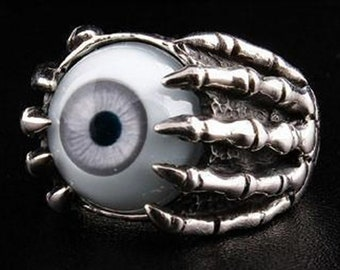 Eye Rings, 925 Sterling Silver Eyeball Rings, Gothic Ring, Evil Eye Claw Ring