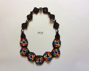 PDF Pattern of Crocheted Rainbow Necklace with Beads