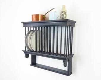 Plate Rack | Wooden wall mounted kitchen plate rack. Period storage designs handmade by Beaufort & Dunham.