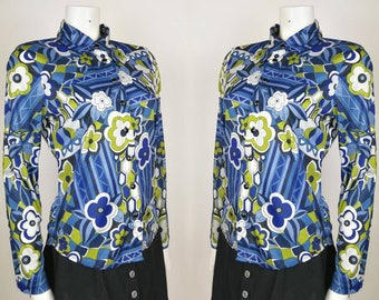 90s does 60s Retro Psych Floral Blue Green Shirt 8