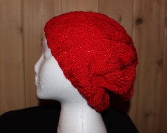 Slouch Hat - Knit Slouch Hat -Knit Hat - Hand Knit Slouch Hat in Red - Red Slouch Hat - Red Knit Slouch - Knit Slouchy