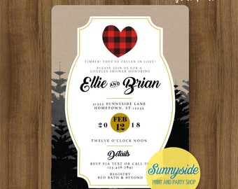 Lumberjack couples wedding shower invitation red buffalo plaid // trees woodland logging rustic bridal shower invite // printable or printed