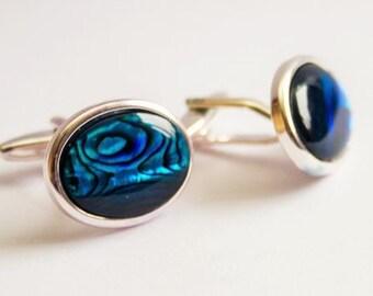 Cufflinks. Abalone Cuff Links. Paua Shell cufflinks. Oval. Blue Cufflinks.  Hand Crafted.  Gifts For Men. Groom Cufflinks. Wedding cufflinks