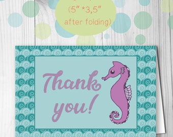 Under the sea printable folded thank you card Under the sea thank you note card Sea party thank you Nautical thank you Seahorse thank you
