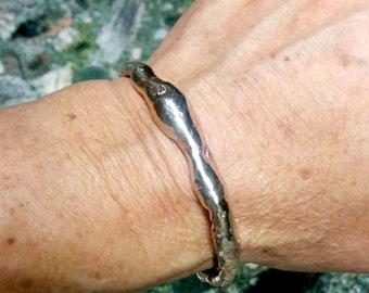 Molten Bronze Cuff Bracelet.  5-10 mm Irregular Wide.