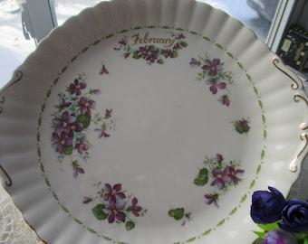 "Royal Albert ""February"" Plate,Purple Violet China, Royal Albert ""Flowers of the Month"", Royal Albert ""February"", Royal Albert Purple Violets"