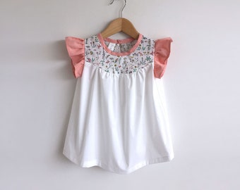 girls cotton dress with Liberty print detail