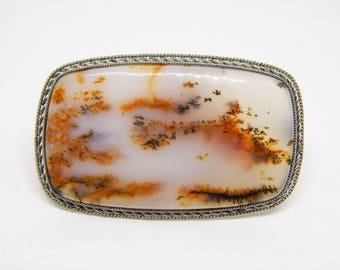 Dendritic landscape agate brooches, gemstone brooches, brooches with natural stone, dendritic opal brooch merlinite, picture agate brooch