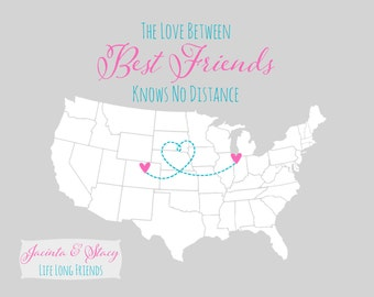 Long Distance Relationship - For Best Friend Gifts Birthday, Friendship Personalized Gift Idea BFF Far Away Sister Neon Bright Pink Sister