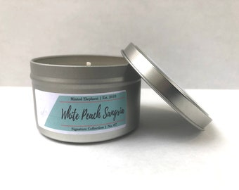 White Peach Sangria | Sangria Candle | Soy Candle | Year Round Fragrance  | Scented Candle | Hand Poured | 8 oz Candle | 6 oz Candle