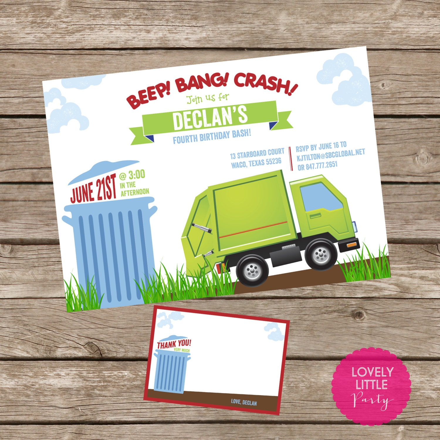 Diy printable garbage truck birthday invitation kit invite and diy printable garbage truck birthday invitation kit invite and thank you card included filmwisefo Image collections