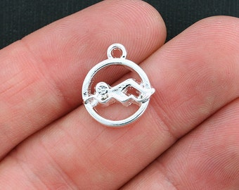 4 Swimming Charms Shiny Silver Tone Swimmer in Water - SC3588
