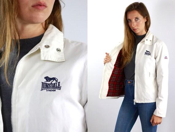 Lonsdale Jacket Bomber Jacket Lonsdale Vintage White Lonsdale Jacket Vintage Jacket Lonsdale White Jacket Bomber 90s White Jacket Lonsdale