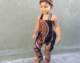 African Ankara Dashiki Print Jumpsuit Outfit - Baby Girl Toddler Kids - sizes 0-3m - 5T Black Dashiki