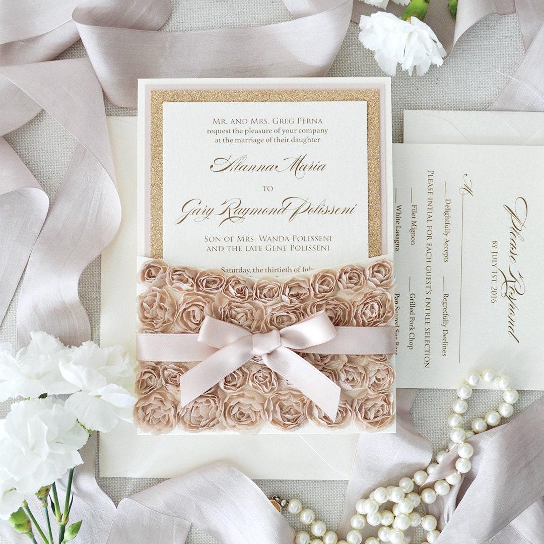 ALANNA- Rosette Lace Wedding Invitation - Lace Pocket ...