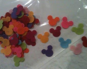 Lot 100 applique felt Mickey 29 mm (mixed colors)