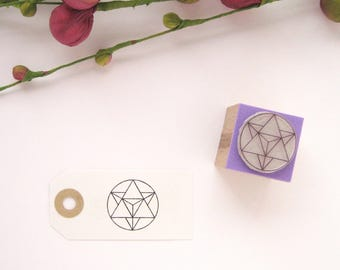 MERKABA Rubber stamp. Star Tetrahedron. Sacred Geometry Rubber Stamp
