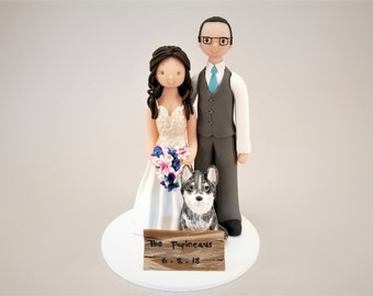Bride & Groom with a Husky Customized Wedding Cake Topper