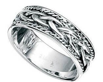 Mens Rope Style Sterling Silver Finger of Thumb Ring