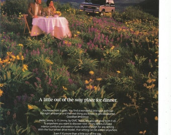1985 Advertisement Jimmy S-15 GMC Trucks Out Of The Way Place For Dinner Romantic Date Hillside Sunset 80s Couple Driver Wall Art Decor