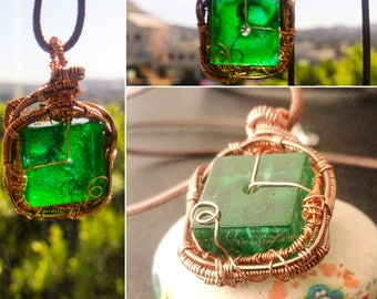 Steampunk Green and Copper Wrapped Gadget Pendant