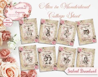 Alice in Wonderland Cards - Printable Tags - Journal Cards - Collage Sheet - Card Toppers - ATC - Printable Wonderland