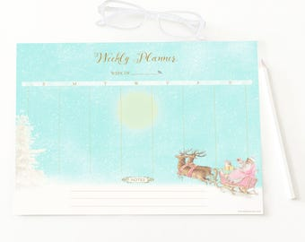 Christmas weekly planner printable, Santa and reindeer and sleigh, instant digital download, holiday printable, Personal use only