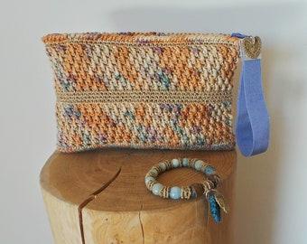 Clutch crochet bag , melange cotton handbag, beige and light blue