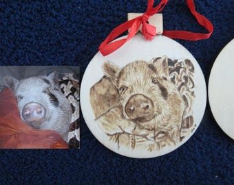 Pet Portrait Wood Burn Ornament Burned by Hand Made to Order using provided photo Pig by Shannon Ivins