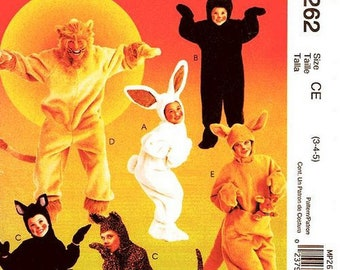 Sz 3/4/5 - McCall's Kids Sewing Pattern MP262 - Children's Furry Animal Onesie Costumes - For Boys or Girl's - McCall's Costume Pattern