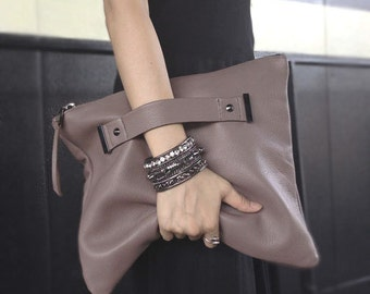 Leather clutch with handle strap, foldover, oversized pouch bag