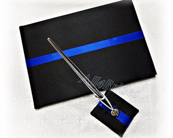Wedding guest book and pen set, Thin blue line royal blue and black wedding decorations