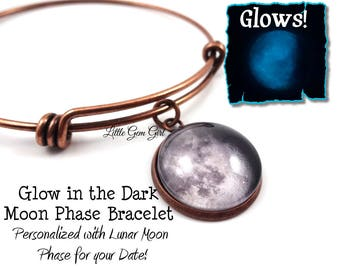 Custom Birth Moon Bracelet - 1 or 2 Moons Glow in the Dark Personalized Moon Phase Wire Wrap Bracelet Glowing Moon Stainless Steel Option