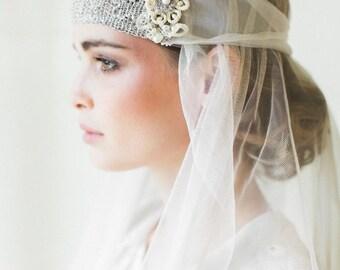 "Art Deco Bridal Headpiece  | 1920s Inspired Handmade Lace Bandeau Headband | Gatsby Wedding | ""Camille"""