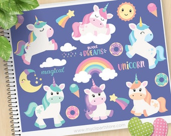 Unicorn clipart, magical, dreams, moon, kawaii sun, donuts, ice cream, rainbow, little pony, Commercial Use, Vector clip art, SVG Cut Files