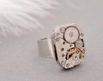 Steampunk Ring Statement Silver Jewellery Manual Watch Grey Ring with Ruby Gems Adjustable Ruby Ring Steampunk Jewelry