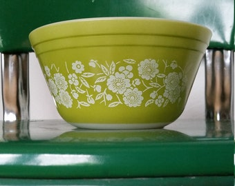 Vintage Federal Glass Bowl Green with White Flowers