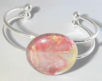 Mothers day gift, Marbled glass bracelet, pink glass gem bangle, silver cuff, pink bracelet, glass cabochon, nail polish gem, pink jewelry