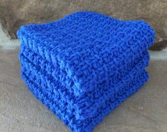 Hand Knit Cotton Dish Cloths Set of 3 Blue