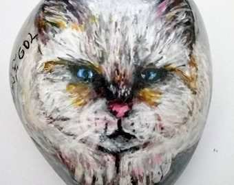WHITE CAT-Beautiful original one of a kind Acrylic on rock painting