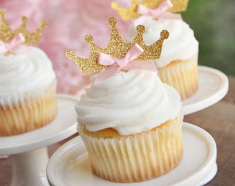 Tiara Cupcake Toppers 12CT.  Handcrafted in 2-5 Business Days.  Pink and Gold Birthday Party Decorations.