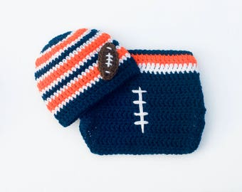 BABY FOOTBALL HAT, Baby Football Outfit Crochet Football Hat Baby Boy Football Helmet, Blue Orange Knit Football Hat Newborn Football Gifts