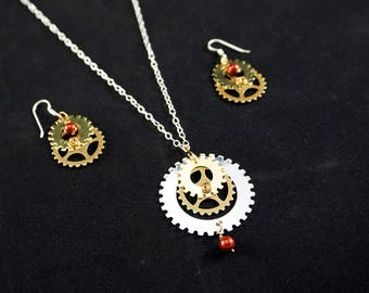 Simple Gearworks Necklace & Earrings Necklace Extender Included : Mechanical Jewelry Gear Jewelry Steampunk Jewelry