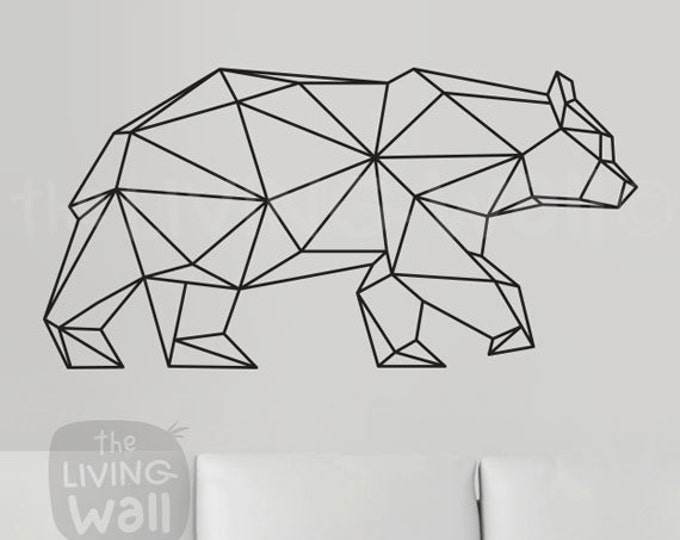 Featured listing image: Geometric Bear Wall Decal, Geometric Animals Decor Bear Wall Art Removable Sticker Australian Made