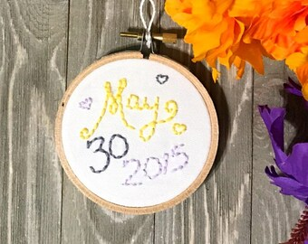 Wedding date embroidered hoop art - Custom Wedding Art - Anniversary Gift - Special Occasion gift