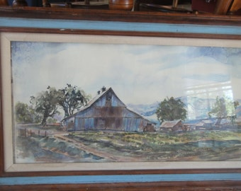 Vintage Watercolor Barn/ Signed