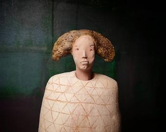 Man in Brown Hat/ Ceramic Colorful Unique Standing Sculpture/ Male Figure