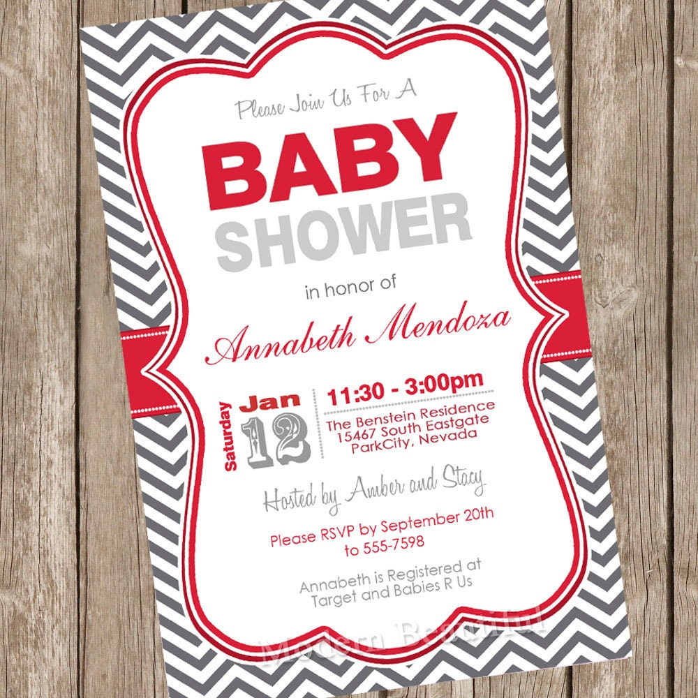 Neutral Baby Shower Invitation Red and Grey Chevron printable