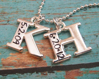 personalized double initial necklace